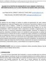BALANCE DE LA POLÍTICA DE GENERACIÓN DE SUELO URBANO Del Río – Gonzalez